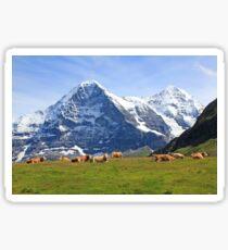 Switzerland alps Swiss mountains, Eiger with cows Sticker