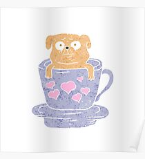 Pug dog sitting in purple  cup with heart.  Poster