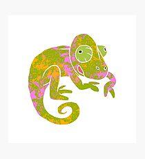 psychedelic chameleon Photographic Print