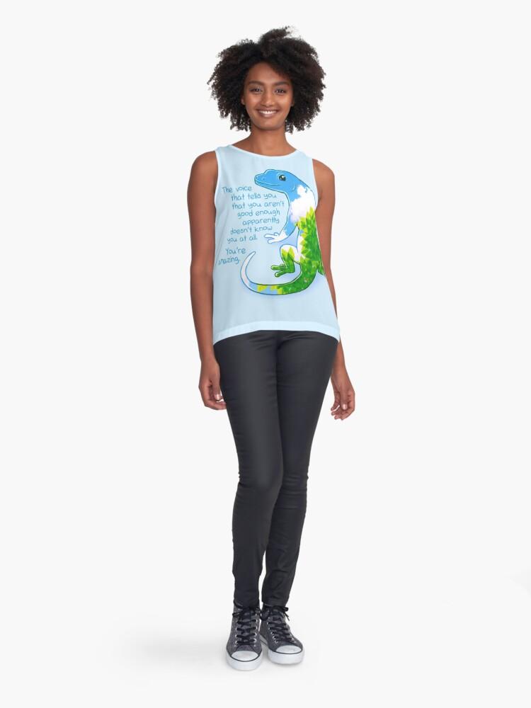"Vista alternativa de Blusa sin mangas ""Eres increíble"" Summer Leaves Gecko"