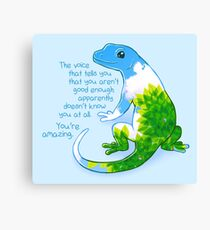 """""""You're Amazing"""" Summer Leaves Gecko Canvas Print"""