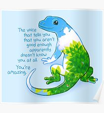 """You're Amazing"" Summer Leaves Gecko Poster"