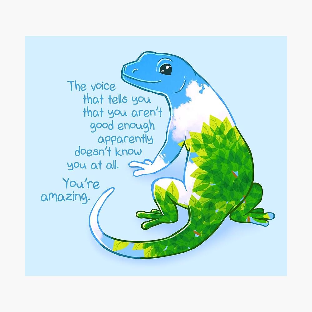 """Eres increíble"" Summer Leaves Gecko Lámina fotográfica"