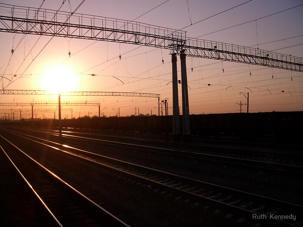 railway sunset by Ruth  Kennedy