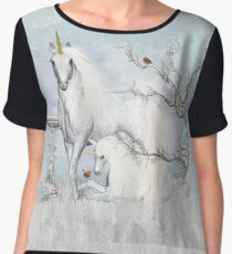 Winter Robins and Unicorns Chiffon Top