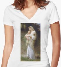 Adolphe William Bouguereau - Linnocence Women's Fitted V-Neck T-Shirt