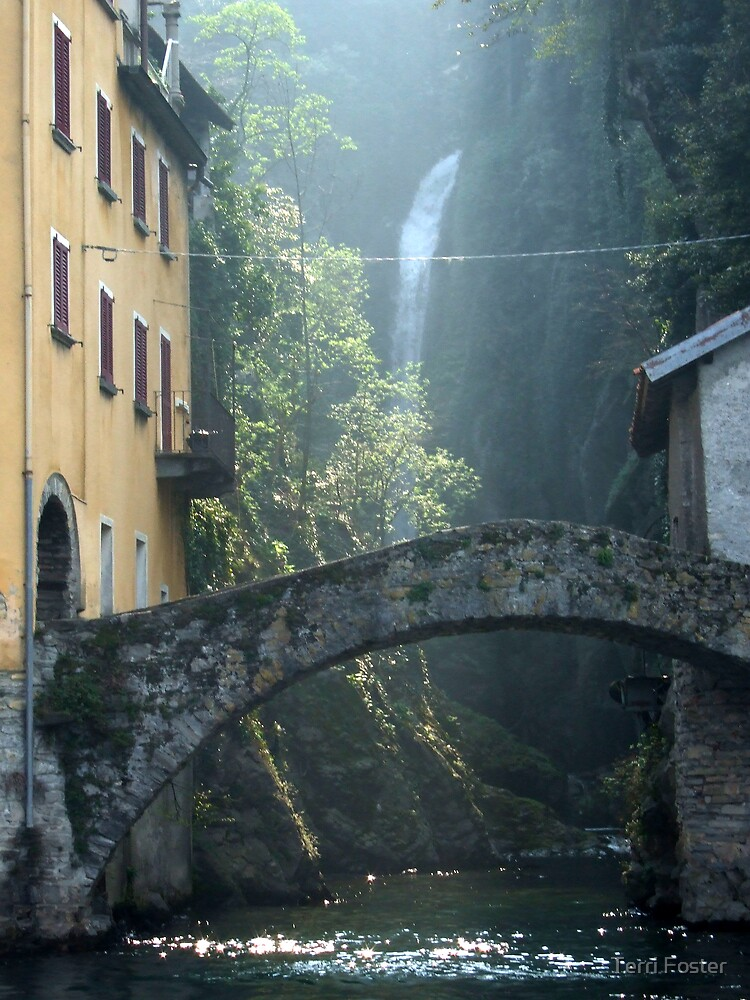 Waterfall and Bridge by Terri Foster