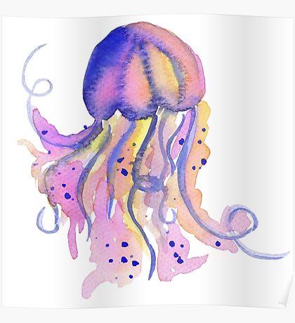 Watercolor magenta blue sea jellyfish Poster