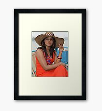 Beautiful Woman in Red Dress Wearing Hat on River Framed Print