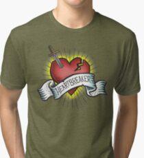 Heartbreaker Vintage Tattoo Design Tri-blend T-Shirt