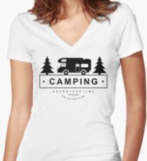 Camping Camp Outdoor Nature Mountain Green Adventure Women's Fitted V-Neck T-Shirt