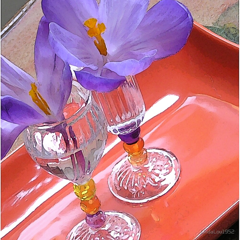 Crocus in Italian Liquer Glasses by LindaLou1952