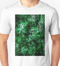 psychedelic geometric drawing abstract in green black and white Unisex T-Shirt