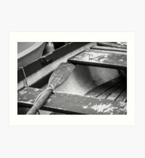 Wooden Oar in Boat - Photograph by Anthony Symes Art Print