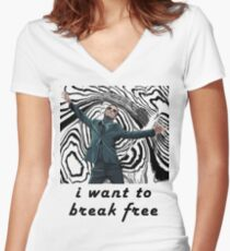 MORIARTY BREAK FREE - NOT FOR DARK CLOTHING Women's Fitted V-Neck T-Shirt