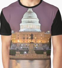 Glowing Washington DC Capitol Graphic T-Shirt