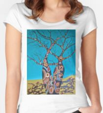 BOAB TREES with Aboriginal theme Women's Fitted Scoop T-Shirt