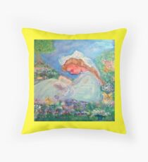 Little Angel on a Reindeer by Marie-Jose Pappas Yellow Throw Pillow
