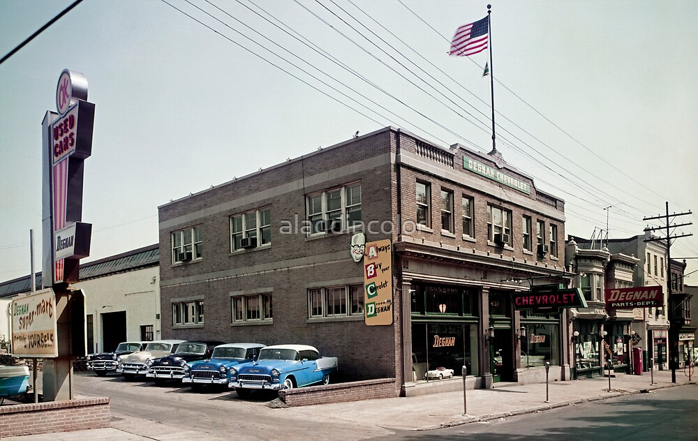 """Degnan Chevrolet Auto Dealership Exterior 1950's"" by ..."