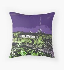 Hollywoodland (in Purple & Green) Throw Pillow