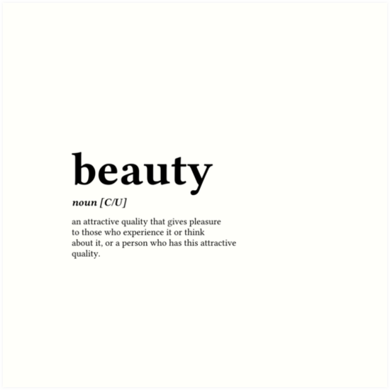 """""""Beauty Word Definition - Left Black Text"""" Art Prints by ..."""