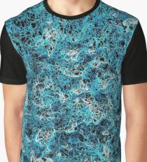 psychedelic geometric drawing abstract in blue white and black Graphic T-Shirt
