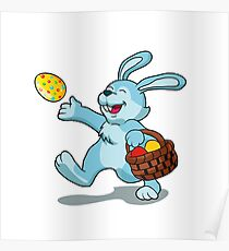 rabbit with Easter basket Poster