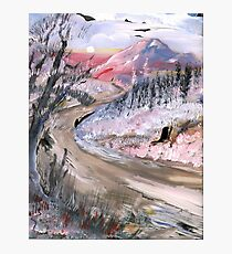 PINK MOUNTAINS AND AN ICY ROAD Photographic Print