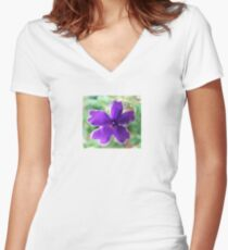 Purple Bloom Women's Fitted V-Neck T-Shirt