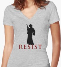 Star Wars Leia: Resist Color Women's Fitted V-Neck T-Shirt