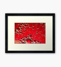 Oil on Water Red and Silver Bubble Abstract Framed Print