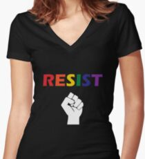 Queer Resistance Women's Fitted V-Neck T-Shirt