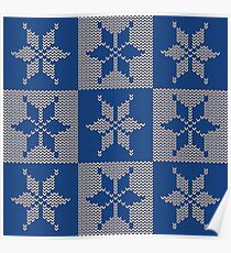 Knitted Snowflake Pattern Poster