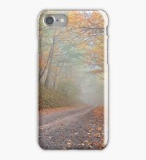 Misty Autumn Forest Road iPhone Case/Skin