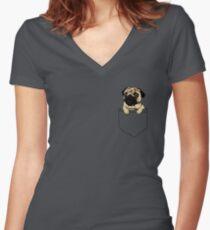 Pocket Pug Women's Fitted V-Neck T-Shirt