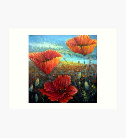 Three Poppies Provence, France Square Art Print