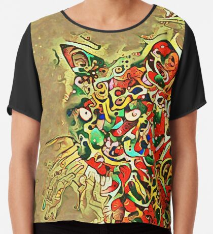 Ninja cat hiding in tropical colors Chiffon Top