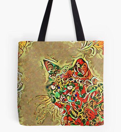 Ninja cat hiding in tropical colors Tote Bag