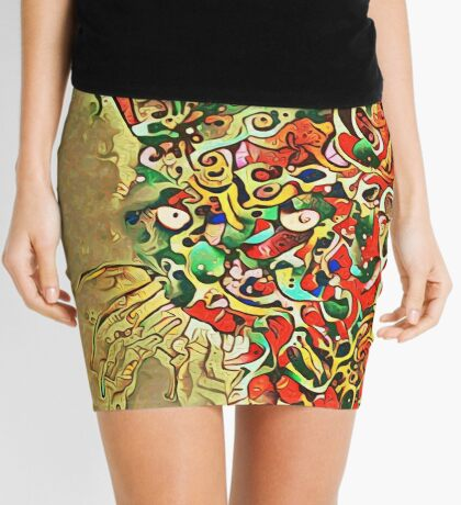 Ninja cat hiding in tropical colors Mini Skirt