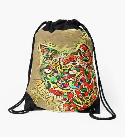 Ninja cat hiding in tropical colors Drawstring Bag