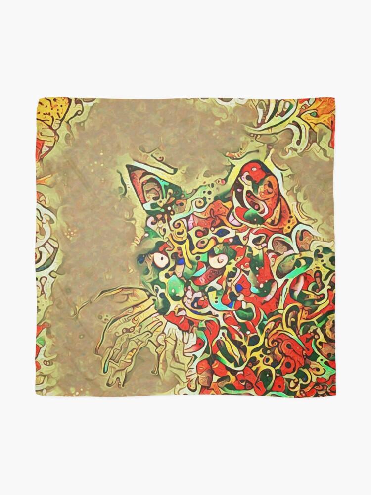 Alternate view of Ninja cat hiding in tropical colors Scarf