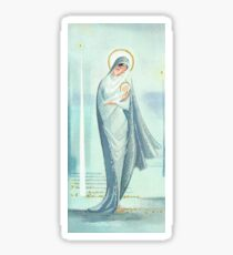 """""""Mother & Babe"""" - Mary, Jesus, Christmas, Blue, Powder, Light, Navy, Gold, Vintage, Card, Inspired, Baby Sticker"""
