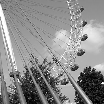London Eye Behind Supports BW by HybridAnglo