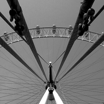 London Eye Beneath Supports in Black and White by HybridAnglo