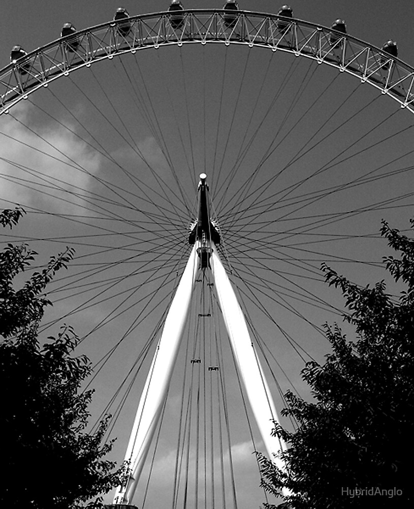 London Eye Between Trees in Black and White by HybridAnglo