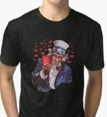 Uncle Sam Solo Cup American College Party Drinking Alcohol Tri-blend T-Shirt