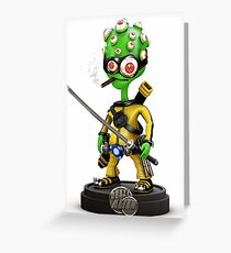 Kung-Fu Alien Greeting Card