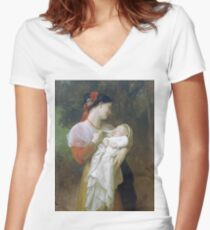 Adolphe William Bouguereau - Admiration_Maternelle Women's Fitted V-Neck T-Shirt
