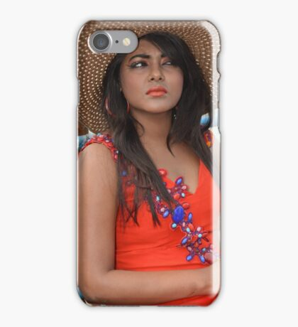 Beautiful Woman in Red Dress Wearing Hat on River Looking iPhone Case/Skin