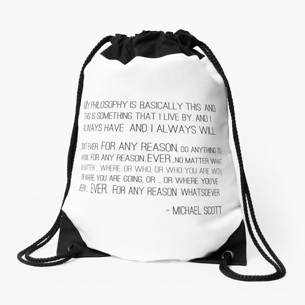 Michael Scott Philosophy Drawstring Bag